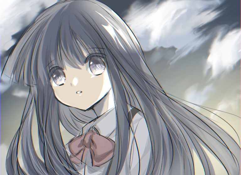 1girl artist_request bangs blue_hair clouds cloudy_sky day furude_rika higurashi_no_naku_koro_ni open_mouth outdoors sky solo standing suspenders violet_eyes