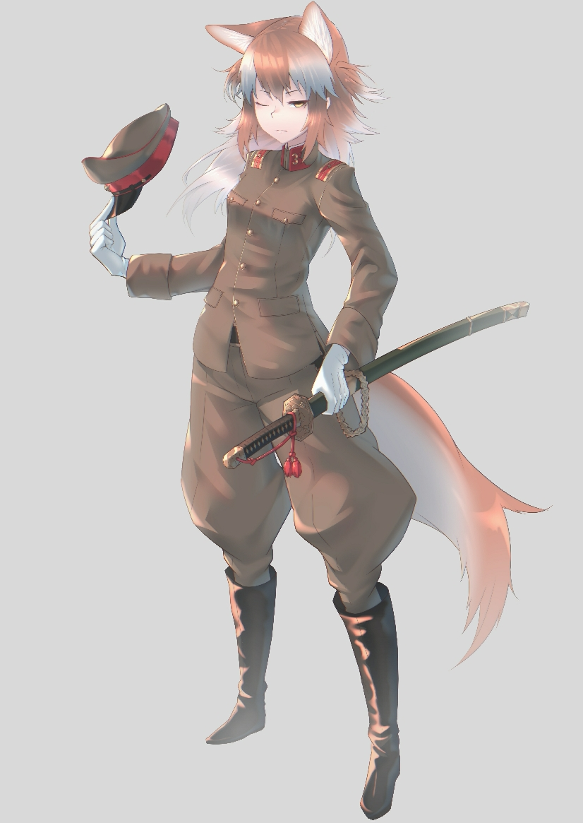 alternate_costume animal_ears boots check_commentary commentary_request full_body gloves hat hat_removed headwear_removed holding holding_sword holding_weapon imperial_japanese_army japanese_wolf_(kemono_friends) katana kemono_friends long_hair military military_hat military_uniform multicolored_hair one_eye_closed orange_hair puffy_pants saya_(scabbard) sheath sheathed simple_background st.takuma sword tail two-tone_hair uniform weapon white_gloves white_hair yellow_eyes