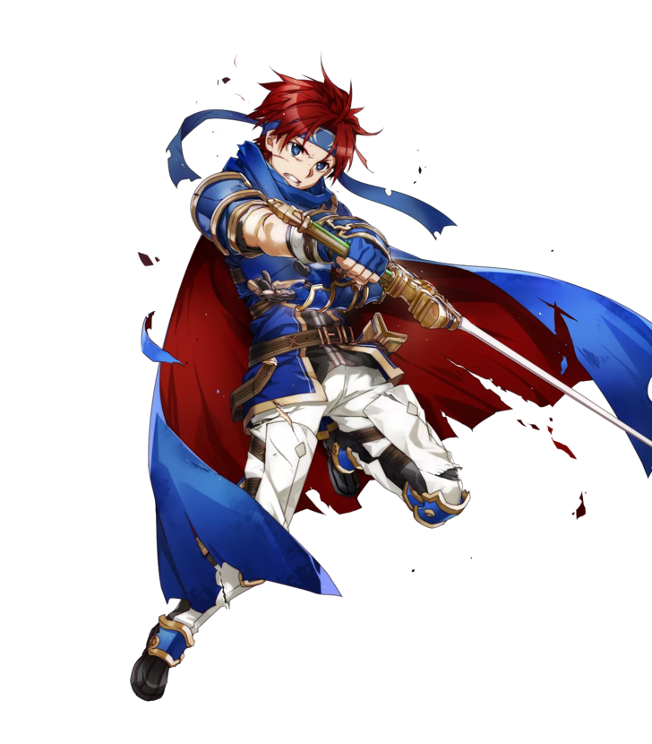 1boy 1girl armor blue_armor blue_eyes bunbun cape fire_emblem fire_emblem:_fuuin_no_tsurugi fire_emblem_heroes full_body gloves headband looking_at_viewer male_focus redhead roy_(fire_emblem) short_hair simple_background smile sword torn_clothes weapon