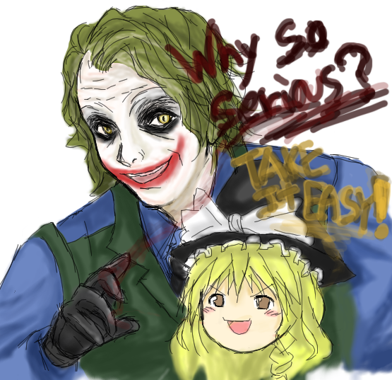 crossover dc_comics english hat kirisame_marisa makeup smile the_dark_knight the_joker touhou why_so_serious yukkuri_shiteitte_ne