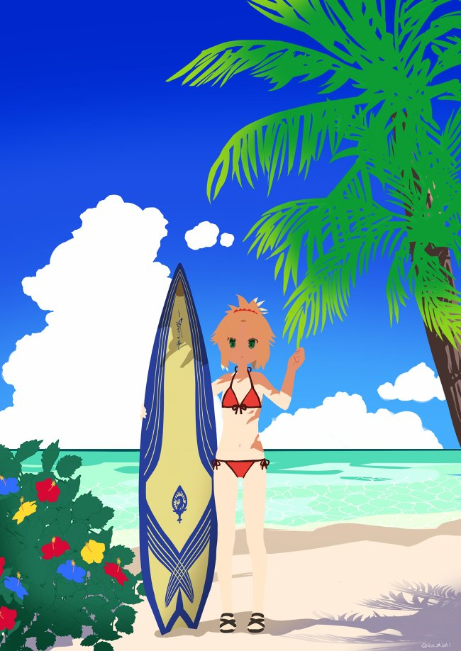 1girl bikini blue_sky bush clouds commentary_request fate/grand_order fate_(series) flower green_eyes hand_up horizon ica looking_at_viewer minimalism mordred_(fate)_(all) mordred_(swimsuit_rider)_(fate) no_lineart ocean palm_tree ponytail purple_flower red_bikini red_flower sandals sky solo standing surfboard swimsuit tree twitter_username yellow_flower