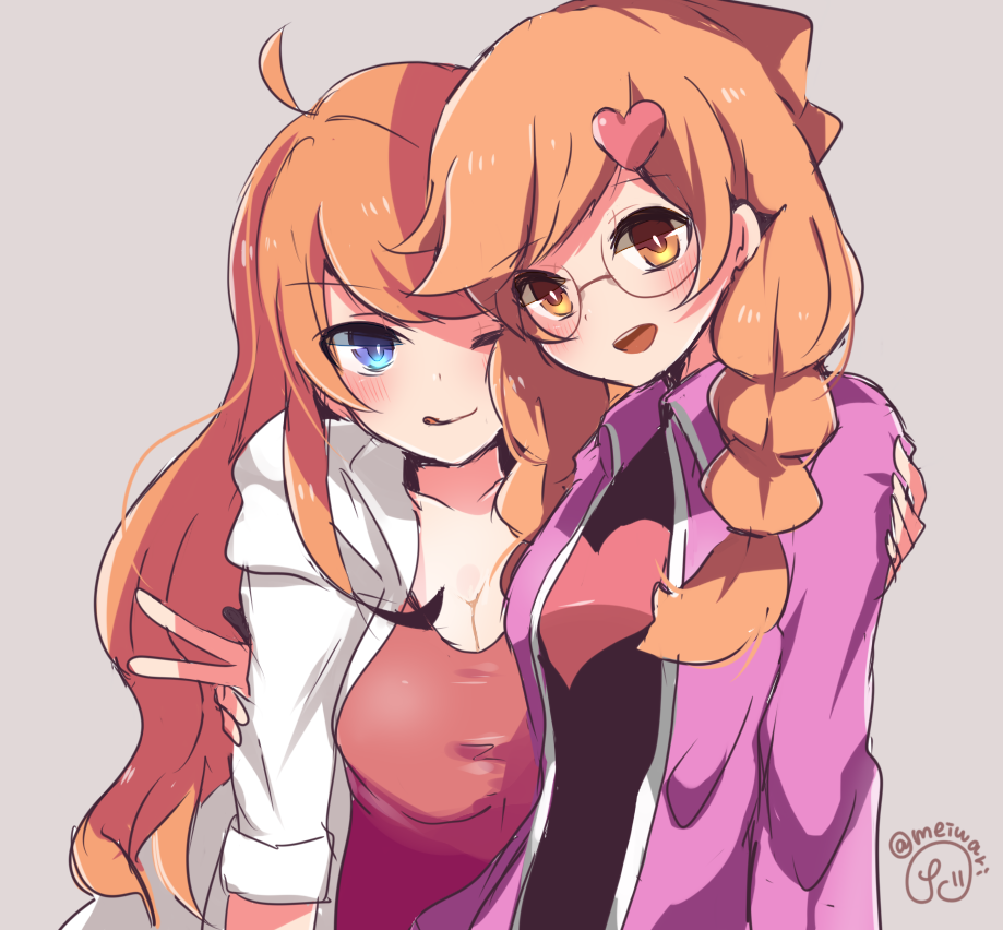 2girls :d ahoge blue_eyes blush braid breasts cleavage coat commentary cute glasses hair_ornament heart heart_hair_ornament herunia_kokuoji intelligent_systems large_breasts long_hair looking_at_viewer medium_breasts mona_(warioware) multiple_girls nintendo one_eye_closed open_mouth orange_eyes orange_hair penny_crygor simple_background smile tongue tongue_out twin_braids twitter_username v warioware yuri