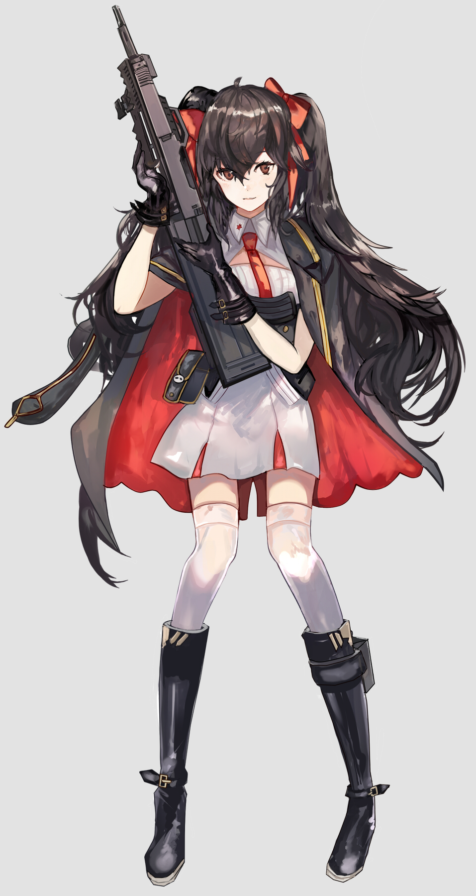1girl bangs black_cape black_footwear black_gloves blush boots bow brown_eyes brown_hair cape commentary_request dress eyebrows_visible_through_hair full_body girls_frontline gloves grey_background gun hair_between_eyes hair_bow highres holding holding_gun holding_weapon long_hair multicolored multicolored_cape multicolored_clothes necktie object_namesake ori_(momonimo) parted_lips pleated_dress qbz-97 qbz-97_(girls_frontline) red_bow red_cape red_neckwear simple_background solo thigh-highs thighhighs_under_boots twintails very_long_hair weapon white_dress white_legwear