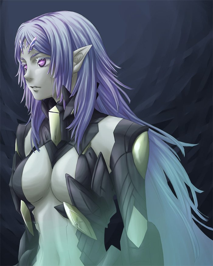 1girl armor breasts elma_(true_form)_(xenoblade_x) elma_(xenoblade_x) long_hair looking_at_viewer navel open_mouth oto_nagi pointy_ears purple_hair red_eyes simple_background solo spoilers violet_eyes white_hair xenoblade xenoblade_(series) xenoblade_chronicles_x