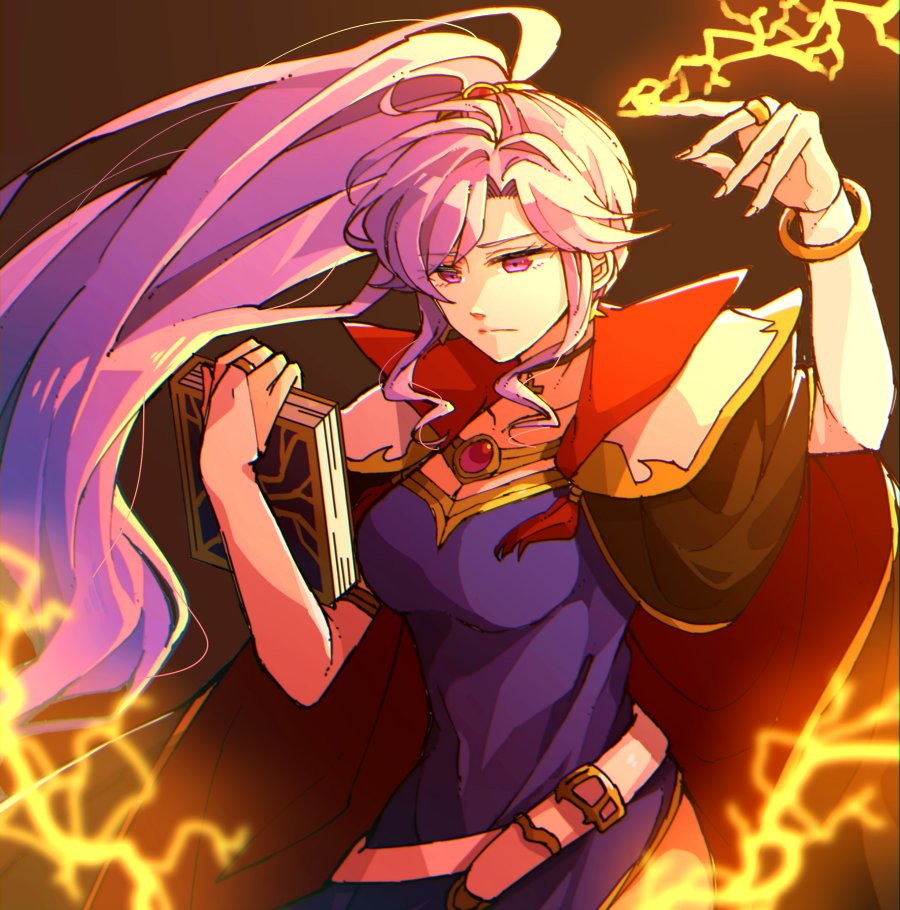 1girl belt book bracelet bridal_gauntlets closed_mouth commentary elbow_gloves fire_emblem fire_emblem:_seisen_no_keifu gloves holding holding_book hzk_(ice17moon) ishtar_(fire_emblem) jewelry lavender_hair lightning long_hair ponytail solo violet_eyes white_belt white_gloves