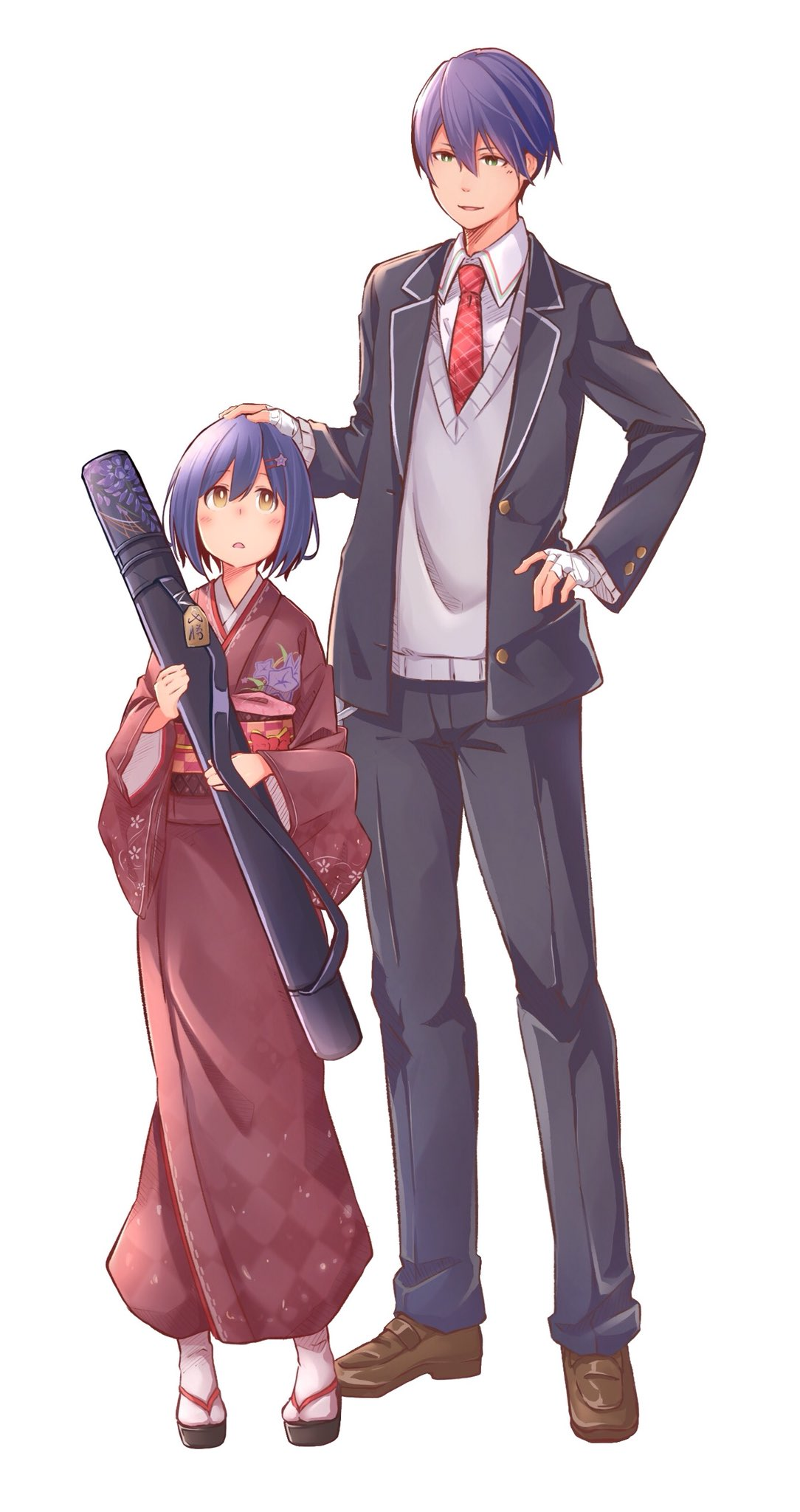 1boy 1girl bandage bandaged_hands bandages blue_hair charm_(object) gakuran green_eyes hand_on_another's_head hand_on_hip height_difference highres japanese_clothes kenmochi_touya mikokomiyazawa necktie nijisanji school_uniform shizuka_rin short_hair smile standing sweater virtual_youtuber white_background wide_sleeves yellow_eyes younger