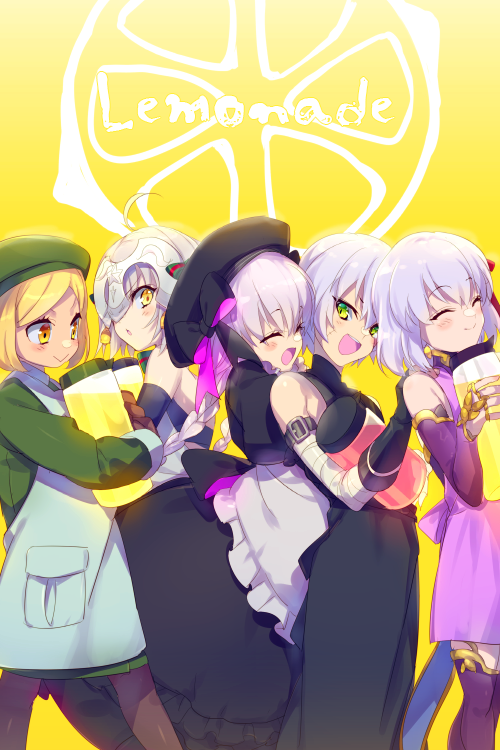 5girls apron bandaged_arm bandages bangs beret black_dress black_gloves black_headwear blonde_hair bow braid breasts brown_gloves cis05 closed_eyes collared_jacket commentary_request cowboy_shot detached_sleeves dress earrings english_text facial_scar fate/apocrypha fate/extra fate/grand_order fate_(series) food from_side fruit gloves gothic_lolita green_bow green_coat green_headwear green_jacket green_ribbon hair_between_eyes hair_ribbon hand_on_another's_shoulder hat headpiece hug hug_from_behind jack_the_ripper_(fate/apocrypha) jacket jar jeanne_d'arc_(fate)_(all) jeanne_d'arc_alter_santa_lily jewelry kama_(fate/grand_order) kappougi lavender_hair lemon lemonade liquid lolita_fashion long_dress looking_at_another looking_back matou_sakura multiple_girls nursery_rhyme_(fate/extra) open_mouth pantyhose paul_bunyan_(fate/grand_order) purple_dress purple_legwear purple_sleeves red_ribbon ribbon ring scar scar_across_eye scar_on_cheek silver_hair single_glove sleeveless sleeveless_dress small_breasts smile striped striped_bow striped_ribbon swept_bangs twin_braids waist_apron yellow_background yellow_eyes