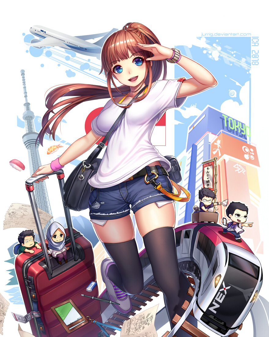 2018 2girls 3boys :d aircraft airplane arm_up artist_name bag bamboo bangs banner belt belt_pouch between_breasts black_hair black_legwear blue_eyes blunt_bangs blush bra_strap breasts brown_hair building chibi commentary commentary_request condensation_trail cooking denim denim_shorts english_commentary eraser eyebrows_visible_through_hair fish floating_hair food green_shirt ground_vehicle hanging_on jeans jurrig long_hair looking_at_viewer medium_breasts minigirl multiple_boys multiple_girls opaque_glasses open_mouth original outstretched_arm pants paper pen pocket pointing pointing_forward ponytail pouch purple_footwear purple_pants railroad_tracks rice_bowl rimless_eyewear rolling_suitcase salute shirt shoes short_shorts shorts shoulder_bag sidelocks sitting skindentation sky smile sneakers spatula standing standing_on_one_leg strap_cleavage striped striped_shirt sushi sweatband thigh-highs tokyo_tower towel towel_around_neck train translated upper_teeth veil watch watermark web_address white_shirt wind zipper zipper_pull_tab