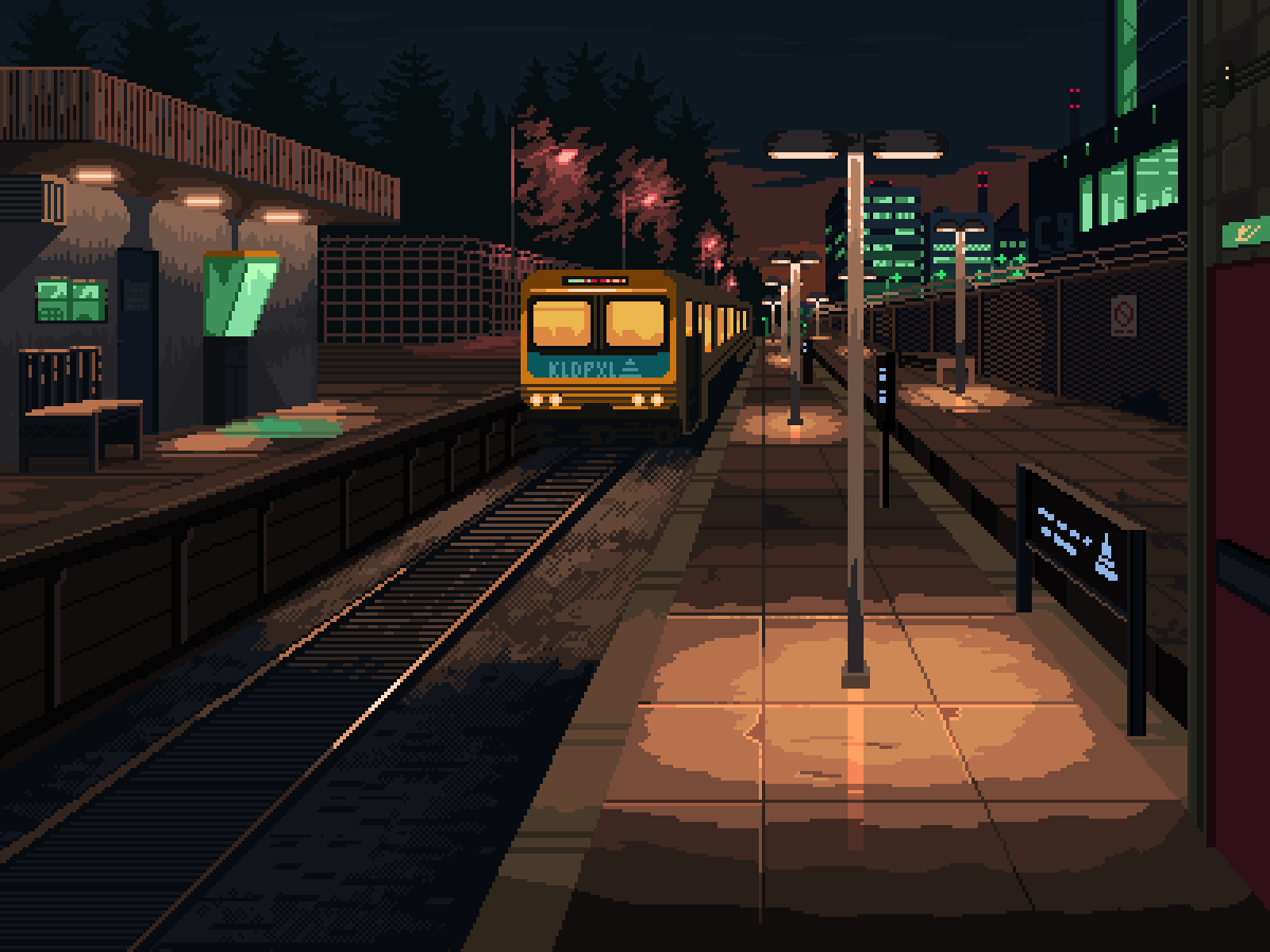 artist_name barbed_wire bench building fence ground_vehicle kldpxl lamppost night night_sky no_humans outdoors pixel_art railroad_tracks scenery sign sky train train_station tree window