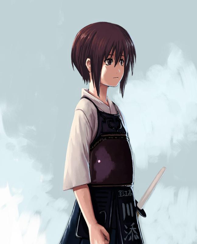 bamboo_blade bob_cut bougu hakama japanese_clothes kawazoe_tamaki purple_eyes purple_hair shinai sword violet_eyes weapon