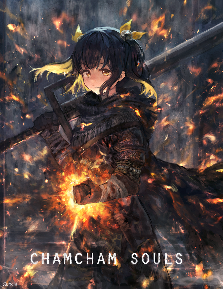 1girl armor armored_dress belt black_hair cape clenched_hand dark_souls fire gloves hair_ribbon highres holding holding_sword holding_weapon knife long_skirt looking_at_viewer over_shoulder ribbon short_twintails skirt solo sonchi souls_(from_software) sword sword_over_shoulder twintails weapon weapon_over_shoulder yellow_eyes