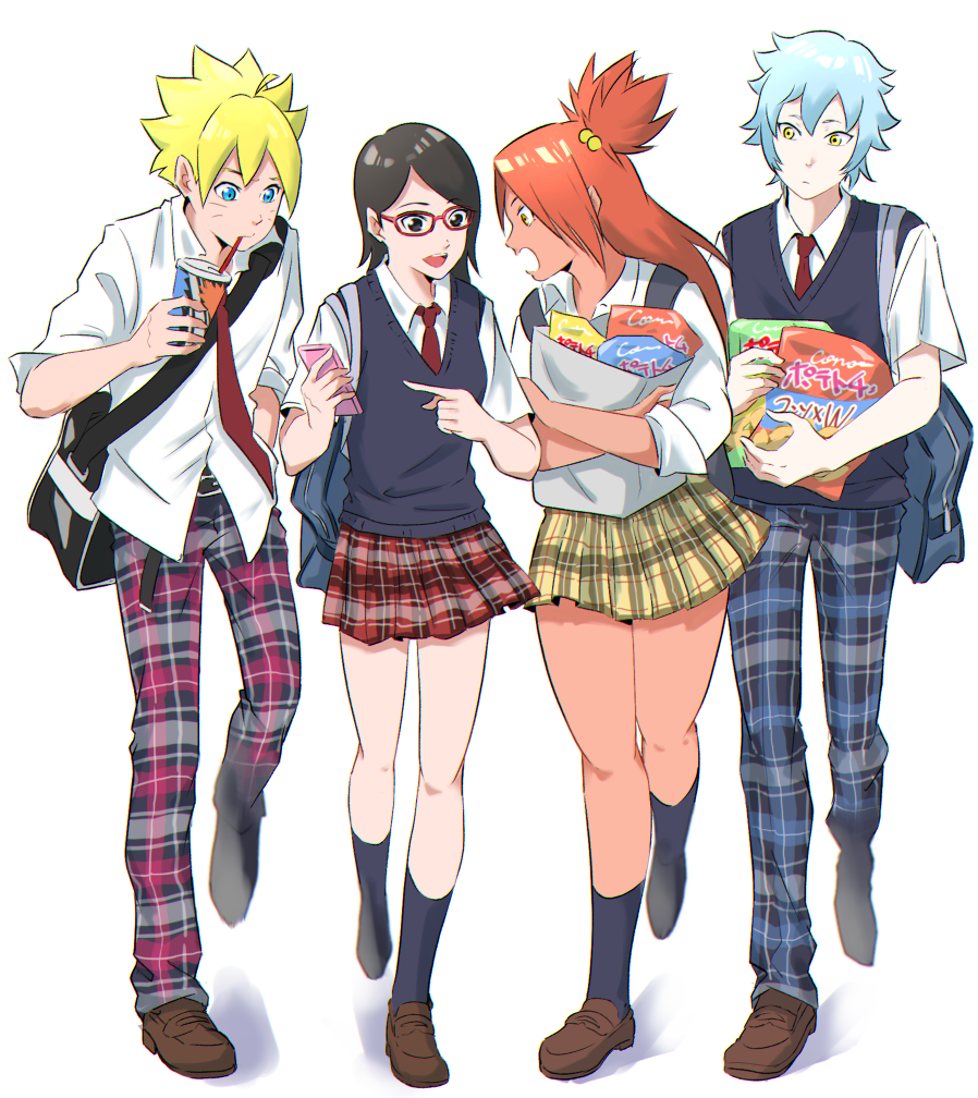 2boys 2girls ahoge akimichi_chouchou bag black_eyes black_hair black_legwear blonde_hair blue_eyes boruto:_naruto_next_generations brown_footwear cellphone chips dark_skin food glasses hand_in_pocket holding holding_bag kero_(23690272) long_hair mitsuki_(naruto) multiple_boys multiple_girls naruto naruto_(series) necktie open_collar pale_skin pants phone plaid plaid_pants plaid_skirt potato_chips school_bag school_uniform shopping_bag short_hair skirt smartphone smile socks spiky_hair uchiha_sarada uzumaki_boruto vest walking whisker_markings yellow_eyes