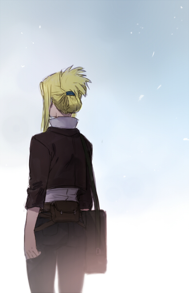 1girl arm_at_side bag bangs belt blonde_hair blue_background conqueror_of_shambala cowboy_shot day facing_away from_behind fullmetal_alchemist gradient gradient_background grey_background jacket long_sleeves outdoors pants riru shirt simple_background solo tied_hair upper_body white_background white_shirt winry_rockbell