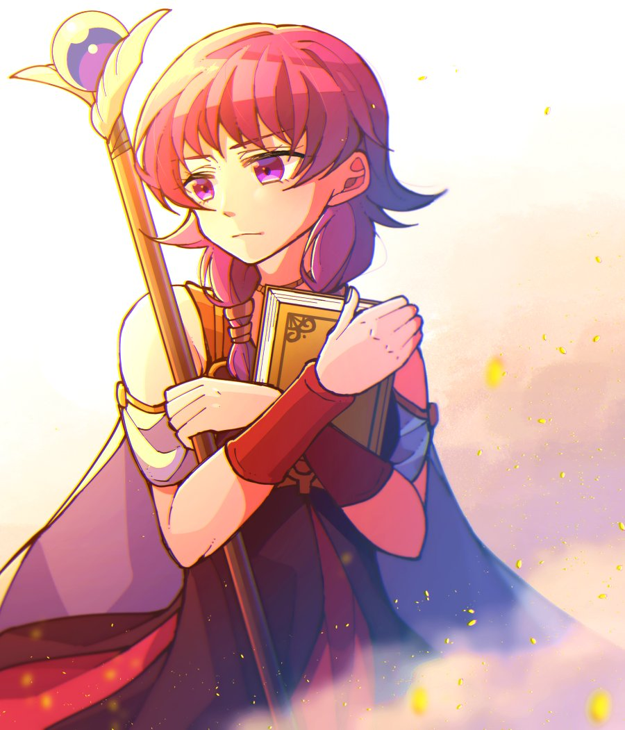 1girl book cape closed_mouth commentary fire_emblem fire_emblem:_seima_no_kouseki holding holding_book holding_staff hzk_(ice17moon) jewelry looking_to_the_side lute_(fire_emblem) necklace nintendo purple_hair sleeveless solo staff violet_eyes