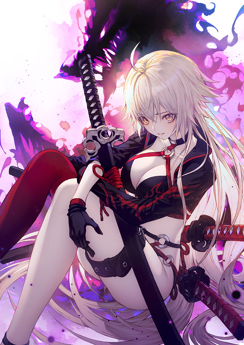 1girl ahoge aura bangs bikini black_gloves blush breasts cleavage commentary_request dragon fate/grand_order fate_(series) gloves hair_between_eyes highres jacket jeanne_d'arc_(alter)_(fate) jeanne_d'arc_(alter_swimsuit_berserker) jeanne_d'arc_(fate)_(all) katana large_breasts long_hair looking_at_viewer o-ring o-ring_bikini open_clothes open_jacket sheath sheathed silver_hair single_thighhigh sitting smile solo swimsuit sword thigh-highs thigh_strap very_long_hair wanke weapon yellow_eyes