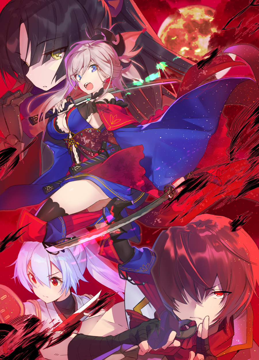 1boy 3girls bangs black_footwear black_gloves black_hair black_legwear blue_hair blue_kimono breasts brown_eyes cleavage commentary_request doll_joints dual_wielding elbow_gloves eyebrows_visible_through_hair fate/grand_order fate_(series) fingerless_gloves full_moon fuuma_kotarou_(fate/grand_order) gloves glowing glowing_sword glowing_weapon hair_between_eyes hair_over_one_eye hayama_eishi high_heels highres holding holding_sword holding_weapon japanese_clothes katana katou_danzou_(fate/grand_order) kimono kuji-in long_hair long_sleeves medium_breasts miyamoto_musashi_(fate/grand_order) moon multiple_girls obi parted_bangs ponytail red_eyes redhead sash shoes sword thigh-highs tomoe_gozen_(fate/grand_order) v-shaped_eyebrows weapon white_kimono wide_sleeves