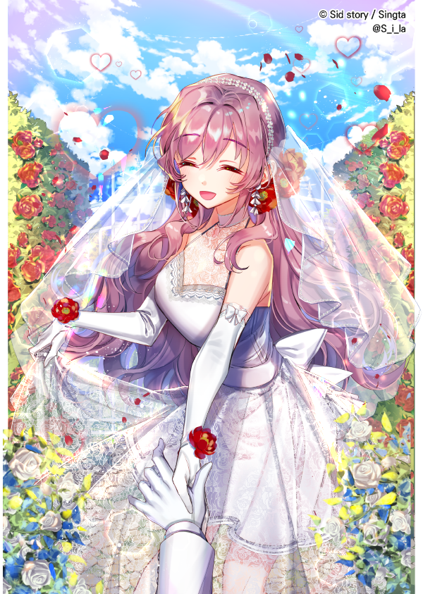1boy 1girl :d blue_sky breasts bride closed_eyes clouds copyright_name day dress earrings elbow_gloves female flower gloves gown half-closed_eyes happy heart hetero holding_hands interitio jewelry long_hair male male_hand official_art open_mouth original outdoors sid sky smile solo_focus standing veil wedding wedding_dress white_dress white_gloves