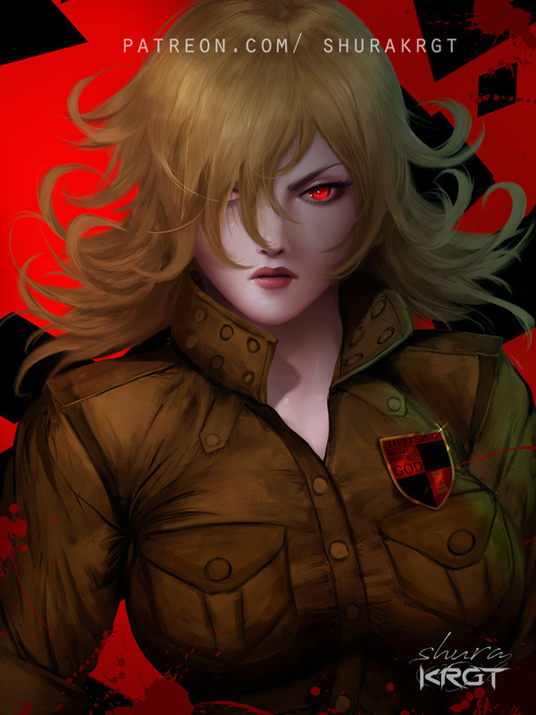 1girl artist_name bangs blonde_hair breasts facing_viewer hair_over_one_eye hellsing high_collar large_breasts looking_at_viewer military military_uniform red_background red_eyes red_lips seras_victoria short_hair shurakrgt solo uniform vampire