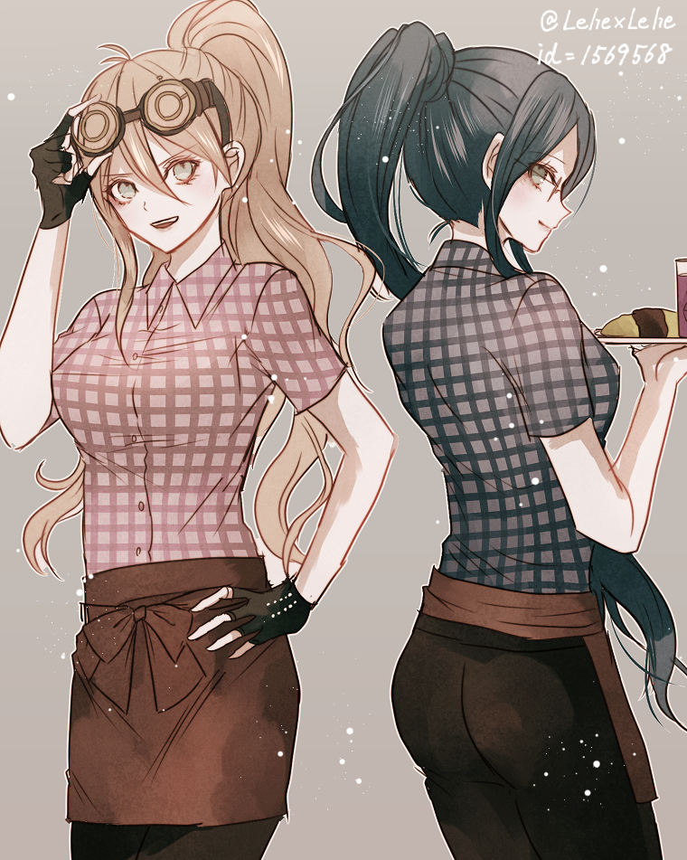 2girls :d alternate_hairstyle apron black_gloves black_hair black_pants blonde_hair brown_apron cowboy_shot danganronpa dress_shirt eyebrows_visible_through_hair fingerless_gloves floating_hair glasses gloves goggles goggles_on_head green_eyes grey_background hair_between_eyes hand_on_hip high_ponytail iruma_miu looking_to_the_side multiple_girls new_danganronpa_v3 open_mouth pants shirogane_tsumugi shirt short_sleeves simple_background sketch smile standing twitter_username waist_apron z-epto_(chat-noir86)