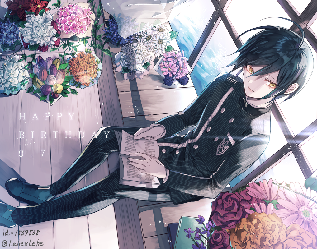 1boy ahoge black_hair black_jacket black_pants book book_on_lap danganronpa flower from_above hair_between_eyes happy_birthday jacket male_focus new_danganronpa_v3 open_book pants rose saihara_shuuichi school_uniform sitting smile striped sunlight twitter_username vertical-striped_pants vertical_stripes yellow_eyes z-epto_(chat-noir86)