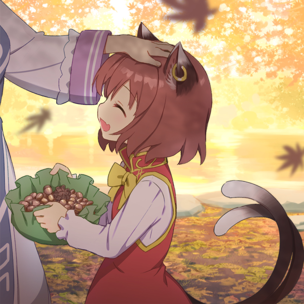 2girls :d ^_^ acorn animal_ears autumn autumn_leaves bow bowtie brown_hair cat_ears cat_girl cat_tail chen china_dress chinese_clothes closed_eyes closed_eyes commentary_request day dress earrings falling_leaves fang hand_on_another's_head holding jewelry kurobuta_gekkan leaf long_sleeves motion_blur multiple_girls nekomata open_mouth out_of_frame outdoors petting pinecone red_dress shirt short_hair smile solo_focus tabard tail touhou upper_body white_shirt yakumo_ran yellow_bow yellow_neckwear