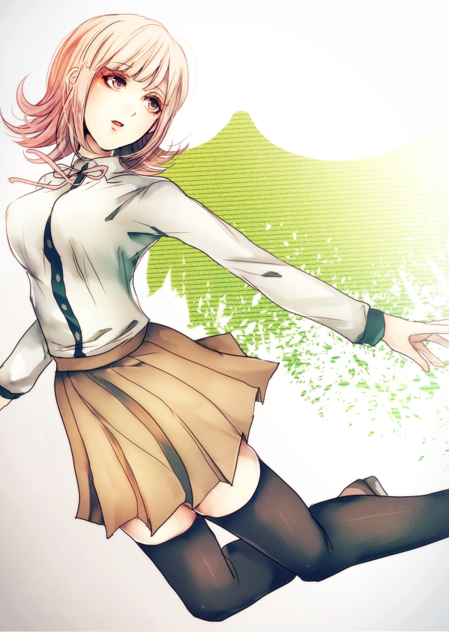 1girl black_legwear brown_eyes brown_skirt danganronpa dress_shirt eyebrows_visible_through_hair head_tilt miniskirt nanami_chiaki neck_ribbon open_mouth pink_ribbon pleated_skirt ribbon shirt short_hair silver_hair simple_background skirt solo super_danganronpa_2 thigh-highs white_background white_shirt z-epto_(chat-noir86) zettai_ryouiki