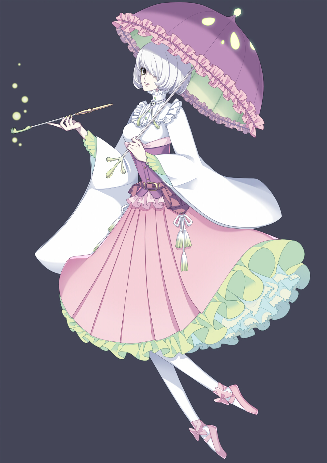 1girl ballet_slippers belt belt_pouch black_background breasts creatures_(company) dress full_body game_freak gen_7_pokemon hair_over_one_eye hand_up highres kiseru looking_at_viewer merlusa nintendo over_shoulder pantyhose parasol parted_lips personification pink_dress pink_footwear pink_umbrella pipe pokemon pouch shiinotic short_hair simple_background solo standing umbrella white_hair white_legwear wide_sleeves