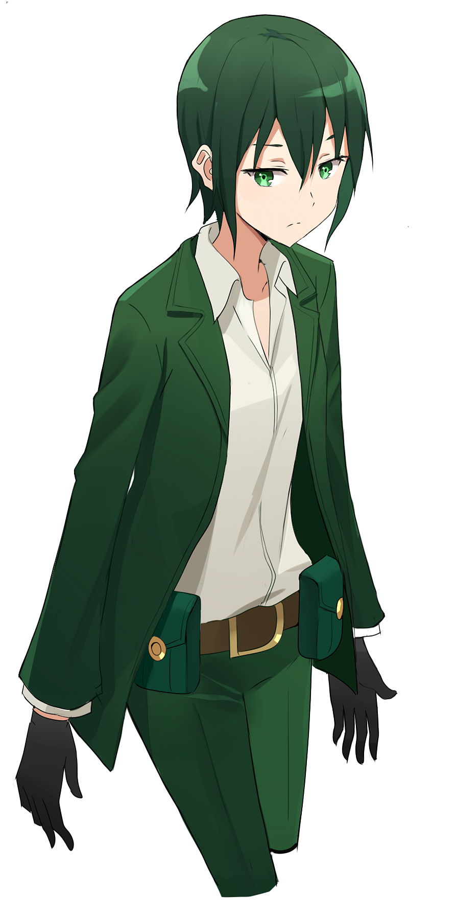 1girl androgynous belt black_gloves collarbone cropped_legs dress_shirt gloves green_eyes green_hair green_jacket green_pants hair_between_eyes highres jacket kenkaizar kino kino_no_tabi open_clothes open_jacket pants shirt short_hair simple_background solo standing white_background white_shirt