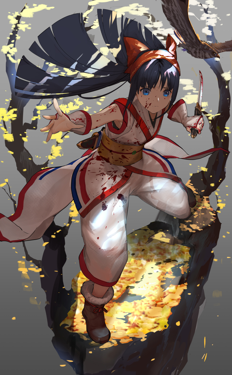 1girl ainu_clothes baggy_pants bangs black_hair blood blood_on_face blood_splatter bloody_clothes bloody_hands bloody_weapon blue_eyes boots bow closed_mouth commentary_request eyebrows_visible_through_hair fingerless_gloves gloves hair_bow hairband highres holding holding_sword holding_weapon japanese_clothes kimono kodachi long_hair looking_at_viewer nakoruru nuda obi outstretched_arm outstretched_hand pants red_bow reverse_grip samurai_spirits sash short_sword sleeveless sleeveless_kimono solo standing sword weapon white_kimono white_pants