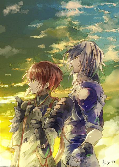 1boy 1girl armor long_hair lora_(xenoblade_2) nintendo okii parted_lips pauldrons redhead shin_(xenoblade) short_hair simple_background skirt sky smile white_hair xenoblade_(series) xenoblade_2 xenoblade_2:_ogon_no_kuri_ira yellow_eyes