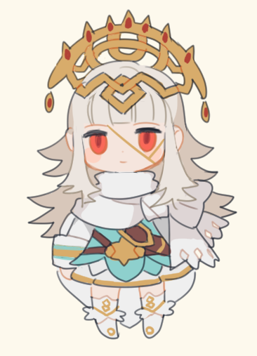 1girl belt cape cbc_p chibi closed_mouth cosplay crown dress fire_emblem fire_emblem_heroes grey_hair hair_ornament long_hair long_sleeves nintendo red_eyes short_dress simple_background solo standing veronica_(fire_emblem) white_background ylgr_(fire_emblem_heroes) ylgr_(fire_emblem_heroes)_(cosplay)