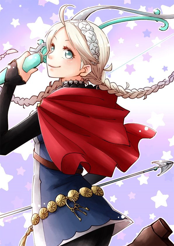 1girl ahoge arrow blue_eyes bow_(weapon) braid capelet closed_mouth ebi_puri_(ebi-ebi) eponine_(fire_emblem_if) fire_emblem fire_emblem_if from_side hairband holding holding_arrow holding_bow_(weapon) holding_weapon key keychain long_hair looking_to_the_side nintendo smile solo star twin_braids weapon white_hair