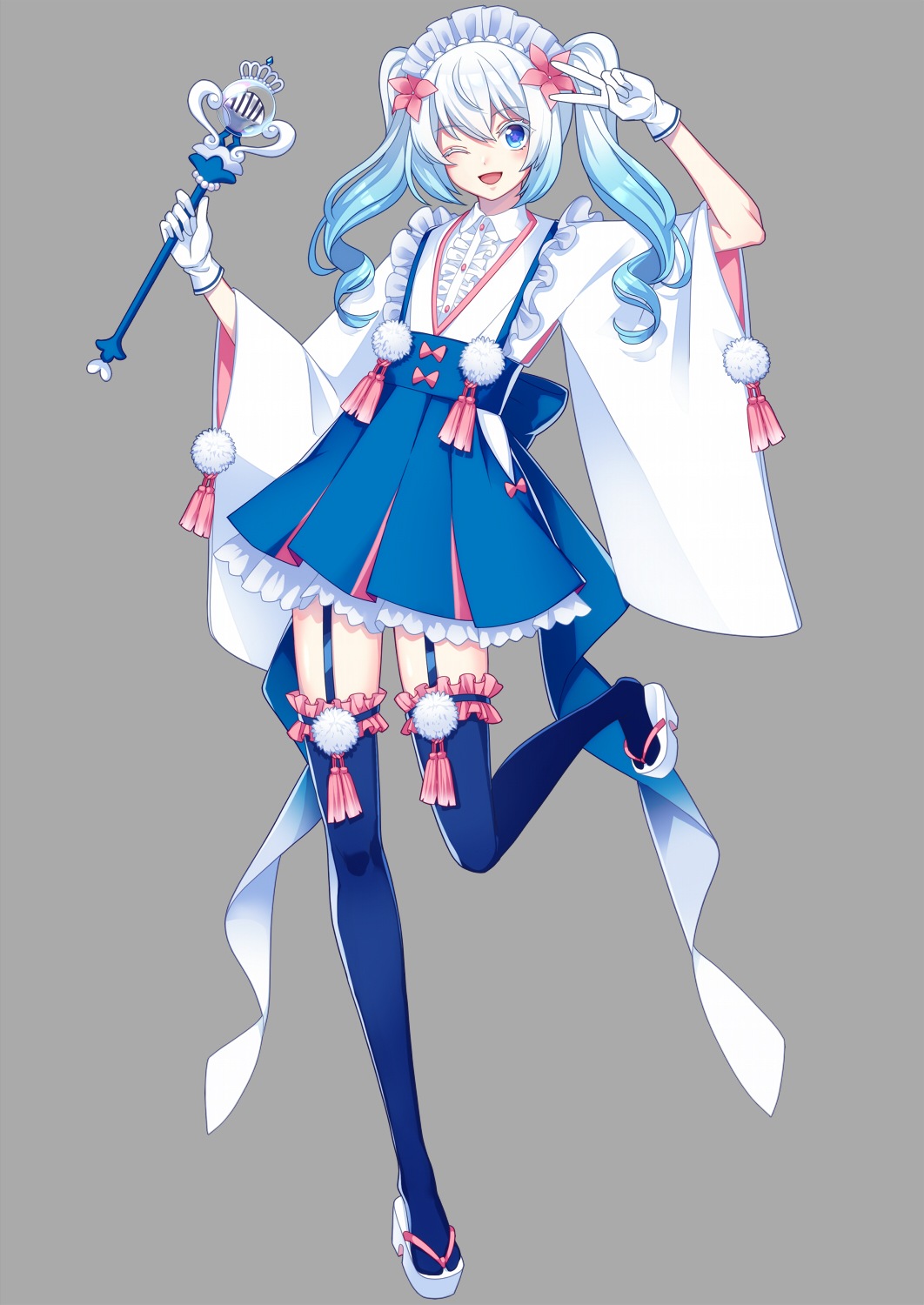 1girl ;p blue_hair blue_legwear blue_skirt creatures_(company) flat_chest flower full_body game_freak garter_straps gen_7_pokemon gloves gradient_hair grey_background hair_flower hair_ornament hairband hand_up highres holding holding_wand long_hair looking_at_viewer merlusa multicolored_hair nintendo one_eye_closed personification pleated_skirt pokemon pom_pom_(clothes) primarina sandals simple_background skirt solo standing standing_on_one_leg thigh-highs tongue tongue_out v wand white_gloves white_hair wide_sleeves
