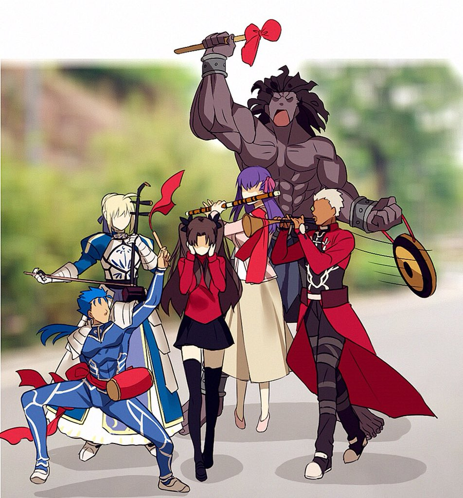 3boys 3girls ahoge archer armor armored_dress artoria_pendragon_(all) bangs berserker black_hair black_legwear black_skirt blonde_hair blue_bodysuit blue_hair blurry bodysuit bracer coat commentary_request covering_ears dark_skin dark_skinned_male depth_of_field dizi dress drum erhu faceless fate/stay_night fate_(series) gauntlets hair_bun hair_ribbon instrument lancer long_hair long_skirt long_sleeves matou_sakura meme multiple_boys multiple_girls music pauldrons pink_footwear playing_instrument ponytail purple_hair purple_ribbon red_coat ribbon saber short_hair shoulder_armor skirt suona thigh-highs tohsaka_rin trench_coat trumpet_boy twintails two_side_up white_hair yaoshi_jun zettai_ryouiki