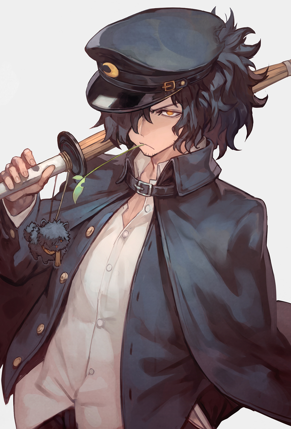 1boy black_cape black_hair black_hat black_jacket bokken buckle cape charm_(object) closed_mouth collar collared_shirt commentary_request crescent_print dog dress_shirt facial_hair fate/grand_order fate_(series) fingernails gakuran grey_background hair_over_one_eye hand_in_pocket hat highres holding holding_sword holding_weapon jacket lack long_sleeves looking_at_viewer male_focus okada_izou_(dog) okada_izou_(fate) open_clothes open_jacket orange_eyes scarf school_uniform shirt solo stubble sword unbuttoned upper_body weapon white_shirt wing_collar wooden_sword