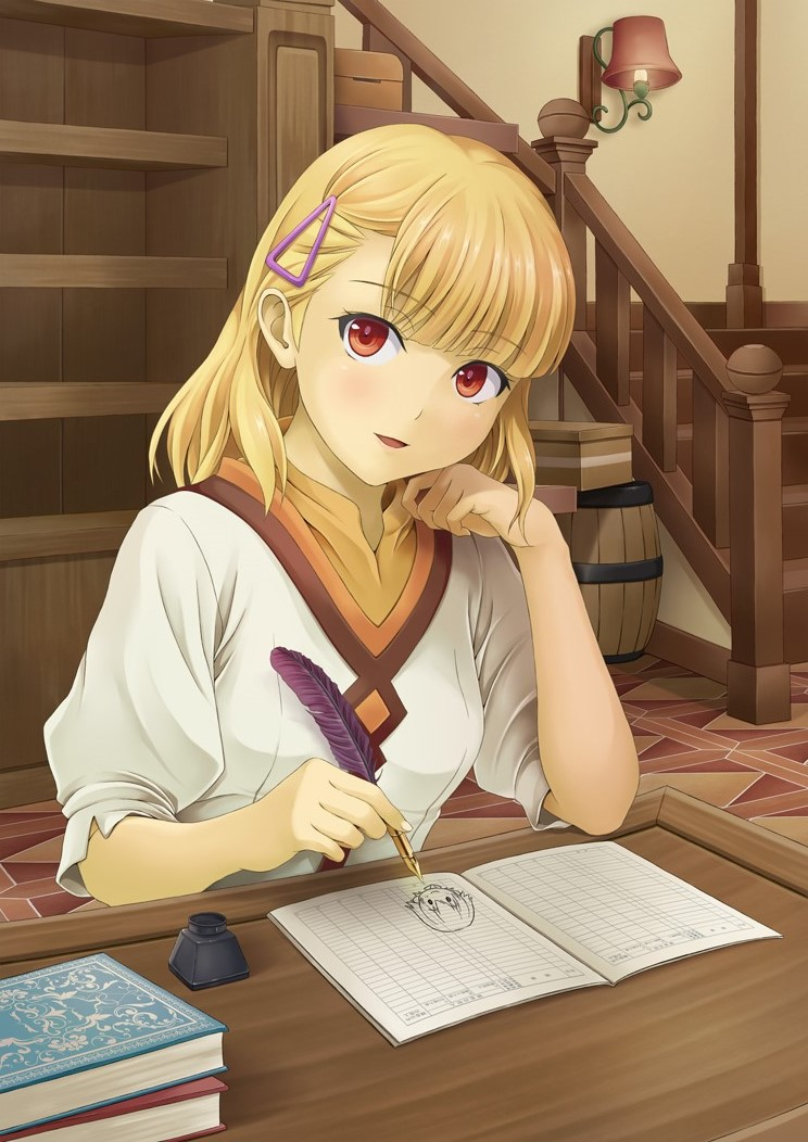 1girl :d blonde_hair drawing eyebrows_visible_through_hair hair_ornament head_rest holding_feather ibushigin indoors long_hair looking_at_viewer open_mouth red_eyes rune_factory shiny shiny_hair shirt sitting smile solo upper_body white_shirt