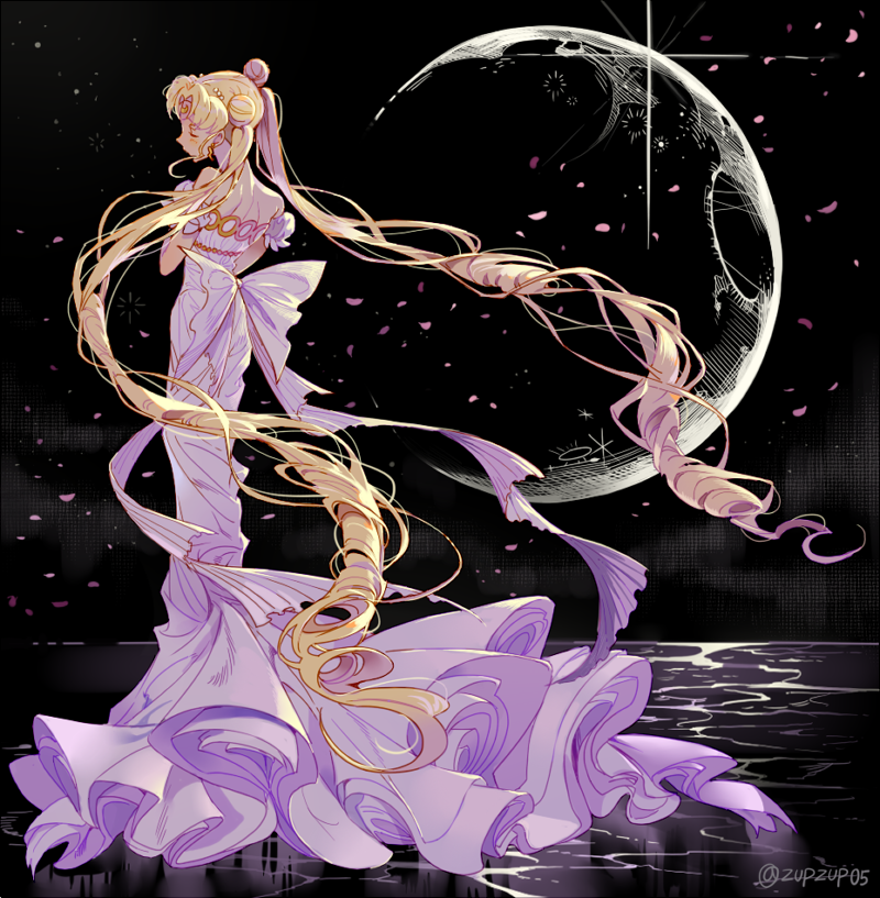 1girl back_bow bare_shoulders bishoujo_senshi_sailor_moon black_background blonde_hair bow closed_eyes double_bun dress facial_mark forehead_mark full_body inzup moon petals princess_serenity solo standing strapless strapless_dress tsukino_usagi twintails twitter_username white_bow white_dress
