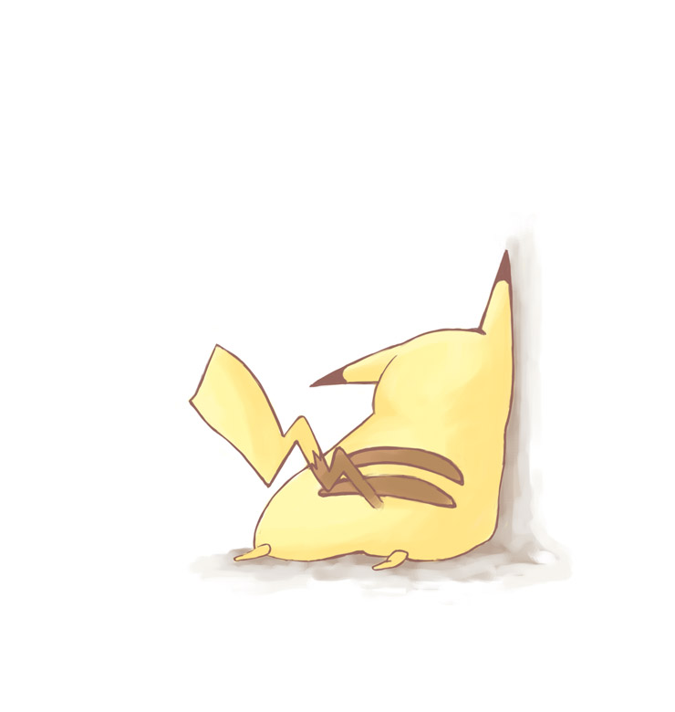 aigiri bad_id no_humans pikachu pokemon pokemon_(creature) simple_background solo tail wall white_background