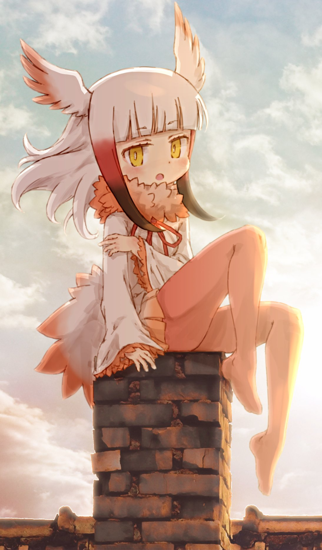 1girl bangs bird_tail bird_wings black_hair blush chimney commentary_request eyebrows_visible_through_hair frilled_sleeves frills fur_collar head_wings highres holding_arm japanese_crested_ibis_(kemono_friends) kemono_friends kolshica long_sleeves multicolored_hair neck_ribbon no_shoes pantyhose redhead ribbon short_hair sidelocks sitting sleeves_past_wrists solo white_hair wings yellow_eyes