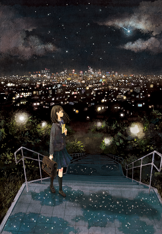 1girl bag black_legwear blazer blue_skirt bow bowtie brown_hair bush city_lights cityscape clouds commentary_request from_side holding holding_bag jacket kneehighs loafers long_hair long_sleeves looking_away navy_blue_skirt night night_sky official_art original outdoors pleated_skirt profile railing school_bag school_uniform shoes shooting_star skirt sky solo stairs standing star_(sky) starry_sky yuuko_(nora0x0)