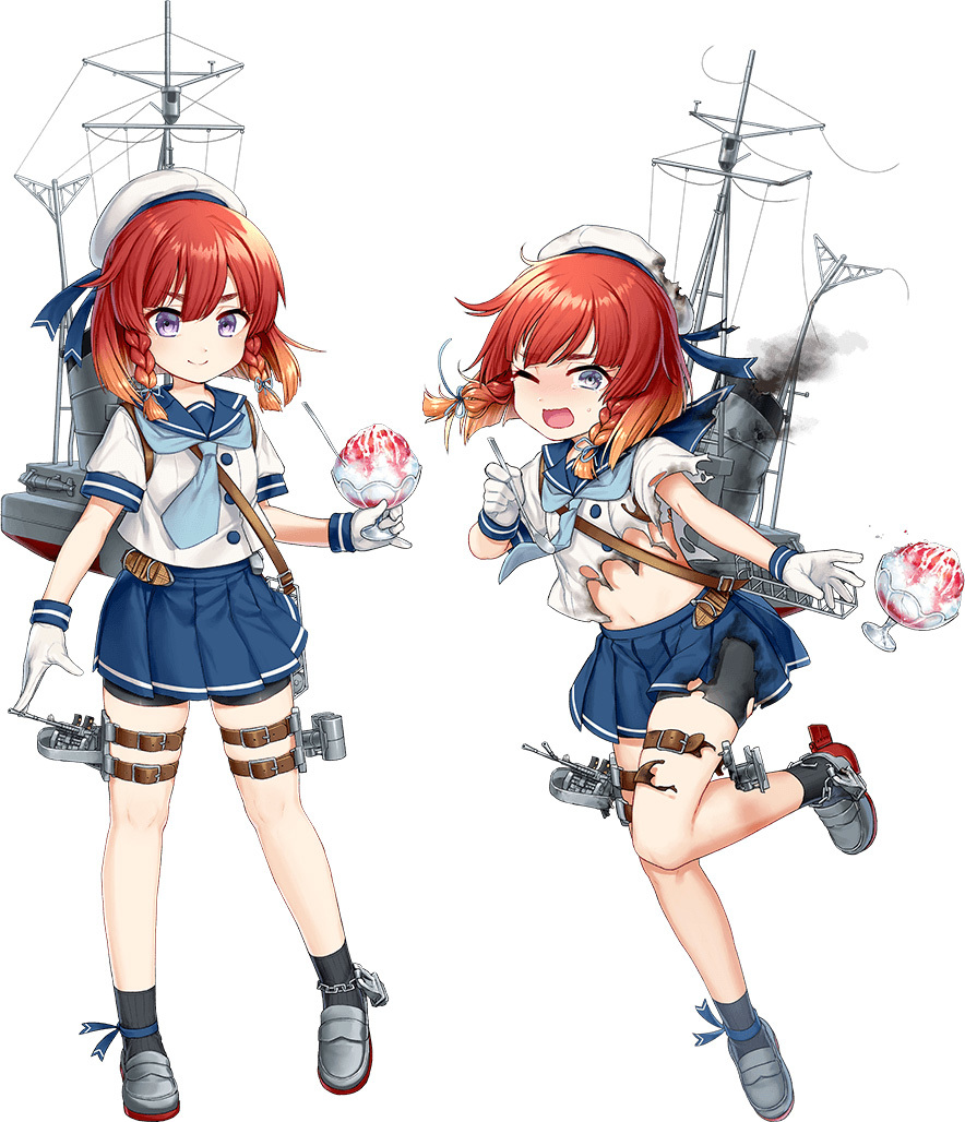 1girl akasaka_yuzu bike_shorts blue_skirt braid etorofu_(kantai_collection) full_body gloves hat kantai_collection midriff miniskirt navel official_art one_eye_closed open_mouth outstretched_arm redhead rigging school_uniform serafuku shaved_ice shirt shoes short_hair shorts shorts_under_skirt simple_background skirt smile smokestack socks solo standing standing_on_one_leg thigh_strap torn_bike_shorts torn_clothes torn_shirt torn_shorts torn_skirt twin_braids violet_eyes white_background white_gloves white_shirt