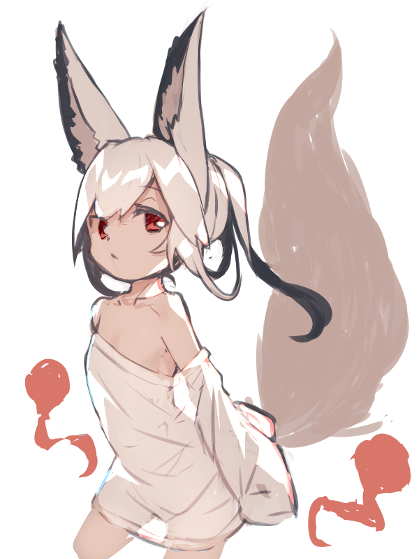 1girl animal_ear_fluff animal_ears closed_mouth detached_sleeves dress fox_ears fox_girl fox_tail long_hair long_sleeves looking_at_viewer original red_eyes silver_hair sketch sleeves_past_fingers sleeves_past_wrists solo strapless strapless_dress tail tail_raised white_dress yuuji_(yukimimi)