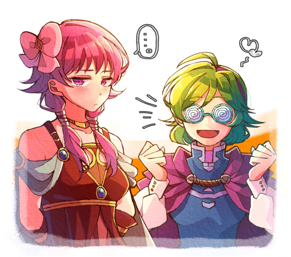 2girls arms_behind_back blush bow cape choker closed_mouth fire_emblem fire_emblem:_rekka_no_ken fire_emblem:_seima_no_kouseki fire_emblem_heroes glasses green_hair hair_bow hairband hzk_(ice17moon) long_hair long_sleeves low_twintails lute_(fire_emblem) multiple_girls nino_(fire_emblem) nintendo pink_bow purple_cape purple_hair short_hair twintails violet_eyes white_background