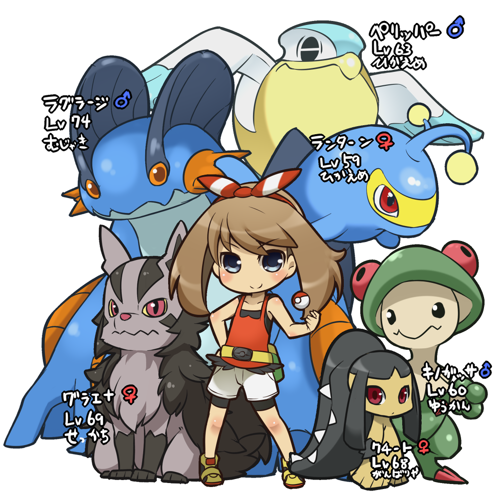 1girl belt bike_shorts black_shirt blush bow brown_hair character_name character_request chibi closed_mouth commentary_request contrapposto creatures_(company) fukurou_(owl222) game_freak gen_2_pokemon gen_3_pokemon grey_shorts hair_bow hairband haruka_(pokemon) holding lanturn looking_at_viewer mars_symbol mawile nintendo pelipper poke_ball poke_ball_(generic) pokemon pokemon_(creature) pouch shirt shoes shorts simple_background smile sneakers standing venus_symbol violet_eyes white_background