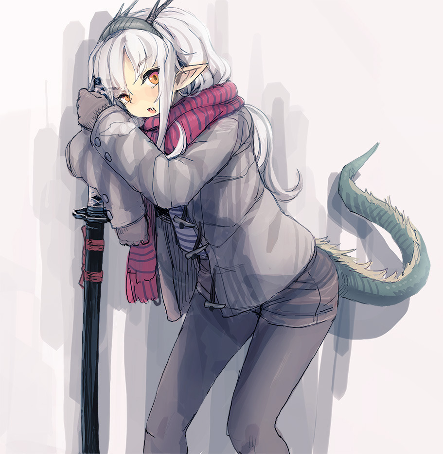 1girl bee_(deadflow) brown_shorts dragon_horns dragon_tail grey_hair grey_jacket grey_legwear holding holding_sword holding_weapon horns jacket katana long_hair long_sleeves looking_at_viewer open_clothes open_jacket orange_eyes original pantyhose parted_lips pointy_ears red_scarf scarf short_shorts shorts solo standing sword tail weapon