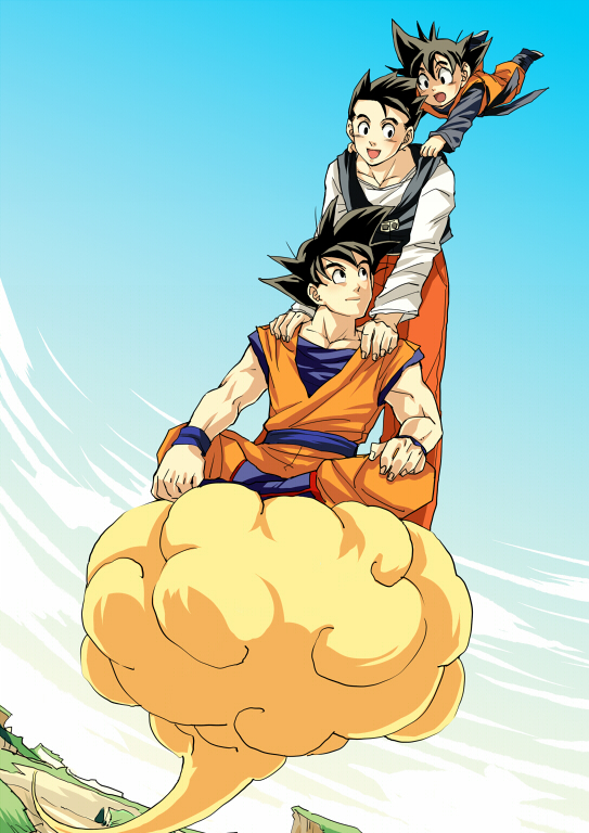 3boys :d black_eyes black_hair boots brothers clouds cloudy_sky commentary day dougi dragon_ball dragonball_z father_and_son fingernails flying flying_nimbus hands_on_another's_shoulders legs_crossed light_smile long_sleeves looking_at_another looking_back looking_up male_focus multiple_boys open_mouth outdoors pants pinki_(shounenkakuseiya) red_pants shaded_face shirt short_hair siblings sitting sky smile son_gohan son_gokuu son_goten spiky_hair standing waistcoat white_shirt wristband
