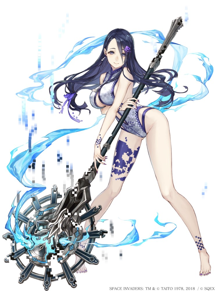 1girl barefoot blue_hair breasts center_opening eyebrows_visible_through_hair eyes_visible_through_hair fingernails full_body grey_eyes hair_ornament hair_ribbon hairclip ji_no kaguya_hime_(sinoalice) large_breasts long_hair looking_at_viewer nail_polish official_art pigeon-toed pixels ribbon sharp_fingernails sinoalice skull_print solo staff swimsuit white_background