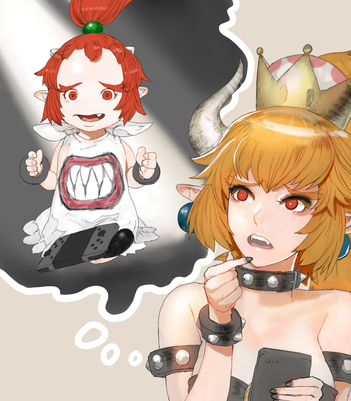 2girls bare_shoulders bib black_dress blonde_hair bowsette bowsette_jr. bracelet breasts cellphone cleavage collar dress earrings eyebrows_visible_through_hair fangs finger_to_mouth hair_between_eyes horns jewelry looking_up mario_(series) medium_breasts mother_and_daughter multiple_girls new_super_mario_bros._u_deluxe nintendo nintendo_switch open_mouth phone pointy_ears ponytail red_eyes redhead smartphone spiked_bracelet spiked_collar spikes strapless strapless_dress super_crown teeth tetuhei thinking upper_body worried