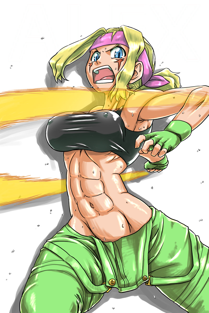 1girl abs alex_(street_fighter) bare_shoulders battle blonde_hair blue_eyes breasts capcom capcom_fighting_jam character_name edit energy_beam erect_nipples facial_mark facial_tattoo fingerless_gloves genderswap genderswap_(mtf) gloves headband impossible_clothes jackasss large_breasts long_hair looking_at_viewer midnight_bliss midriff mouth muscle navel open overalls solo strapless street_fighter street_fighter_iii_(series) sweat tank_top tattoo tubetop
