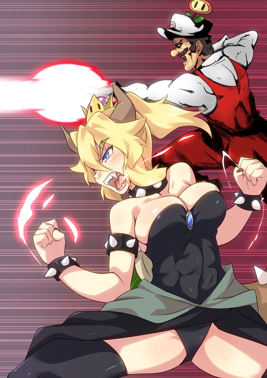 1boy 1girl abs action bangs bare_shoulders black_legwear black_leotard black_nails black_skirt blonde_hair blush borrowed_character bowsette bracelet breasts brooch brown_hair cabbie_hat cleavage clenched_hands clenched_teeth collar commentary_request cowboy_shot earrings energy energy_beam eyebrows eyebrows_visible_through_hair eyelashes fangs fighting_stance fire_flower firing from_side gloves glowing gradient gradient_background hair_between_eyes hand_on_hip hand_up hat highres horns jewelry layered_clothing leotard light_blue_eyes light_trail long_sleeves looking_afar mario mario_(series) medium_breasts muscle nail_polish new_super_mario_bros._u_deluxe nintendo no_pupils outline overalls ponytail profile red_background red_overalls roaring sangue_llia sharp_nails sharp_teeth shiny shiny_clothes shiny_hair shiny_skin shirt short_hair sidelocks skindentation skirt spiked_bracelet spiked_collar spiked_shell spikes strapless strapless_leotard super_crown teeth thighs toned tsurime white_gloves white_hat white_shirt